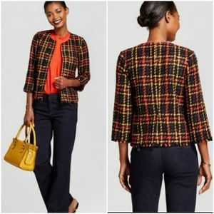 A New Day, Cropped Tweed Open Front Jacket Blazer